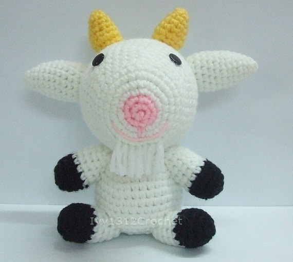 White Goat Finished Handmade Amigurumi Crochet Doll Home Decor Birthday Gift Baby Shower Toy