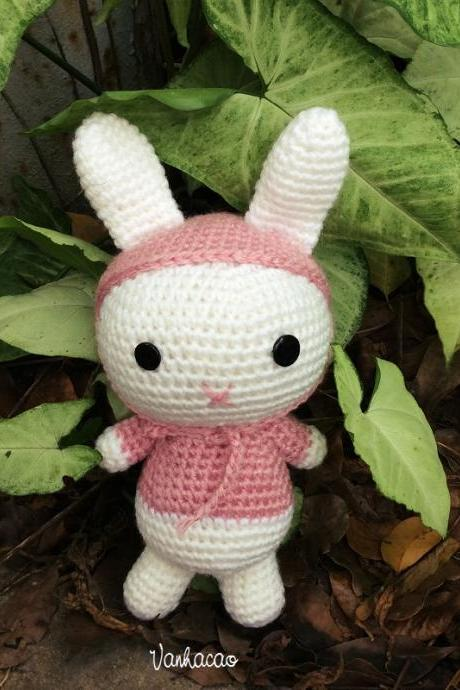 Hoodie Bunny - Handmade Handcrafted Crocheted Amigurumi Easter Children Birthday Baby Shower Gift (Price for one item)