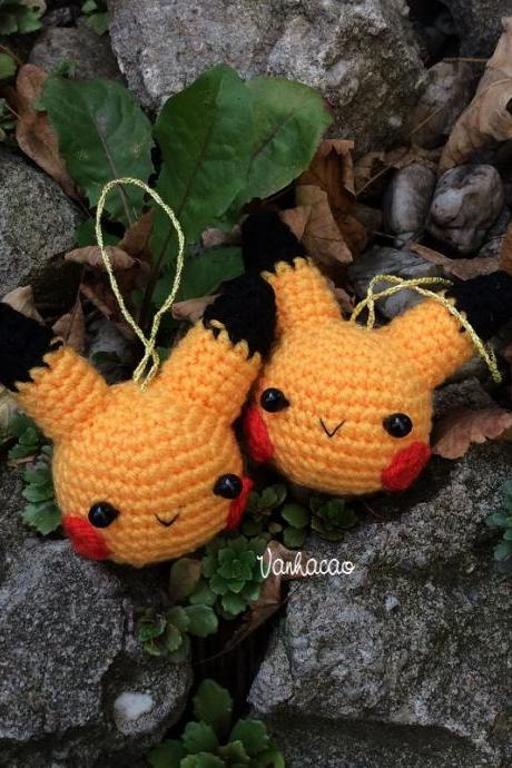 Pikachu Keychain/Dekor - Handmade Handcrafted Crocheted Amigurumi Christmas Children Birthday Soft Toy Gift (Price for one item)