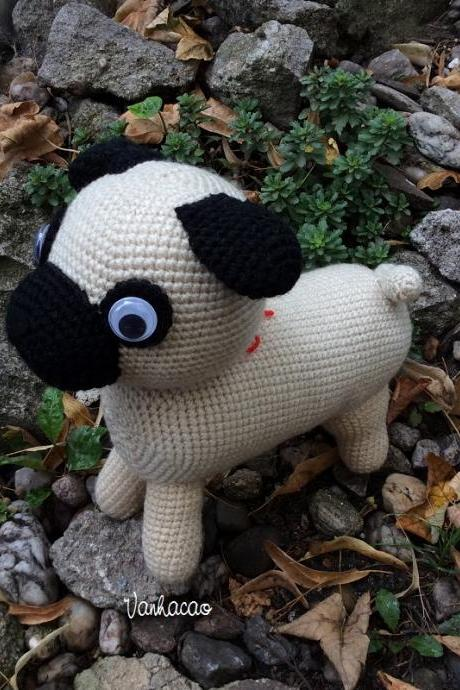 Pug - Handmade Handcrafted Crocheted Amigurumi Children Birthday Baby Shower Soft Toy Gift (Price for one item)