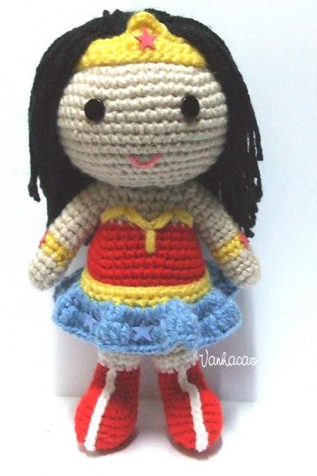 Wonder Woman - Handmade Handcrafted Crocheted Amigurumi Christmas Children Birthday Baby Shower Gift