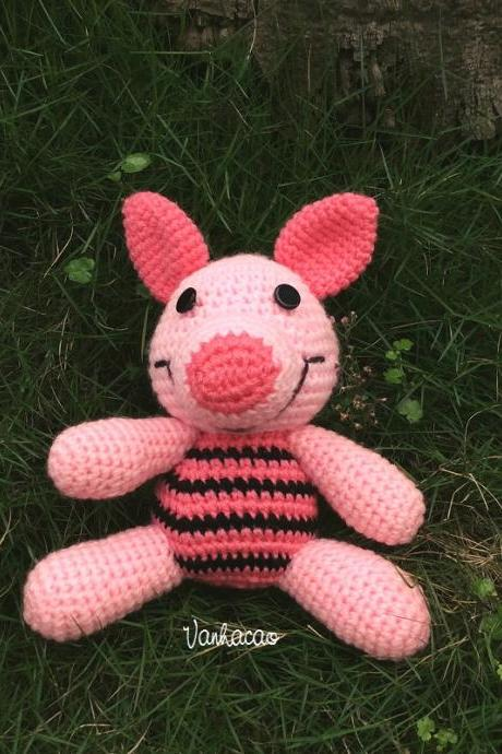 Piglet - Finished Handcrafted Handmade Crocheted Amigurumi Birthday Children Christmas Baby Shower Soft Toy Winnie the Pooh Gift