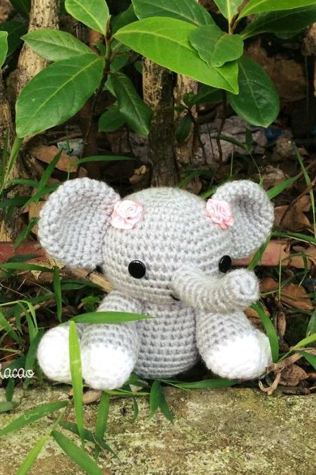 Elephant - Handmade Amigurumi crochet doll toy Home decor birthday soft toy gift