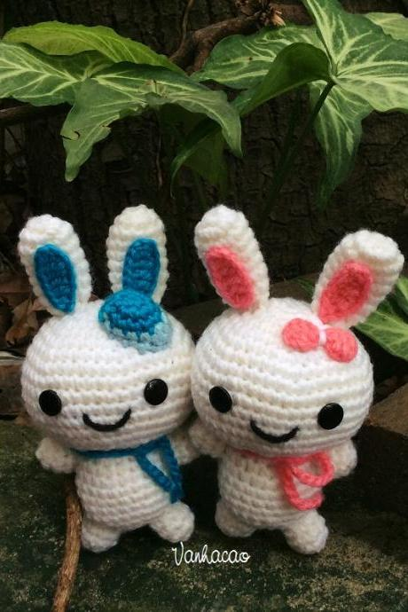Bunny Couple - Handmade Handcrafted Crocheted Amigurumi Easter Children Birthday Baby Shower Gift
