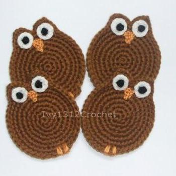 Owl Coasters (Set of 4) - Handmade Amigurumi Coasters