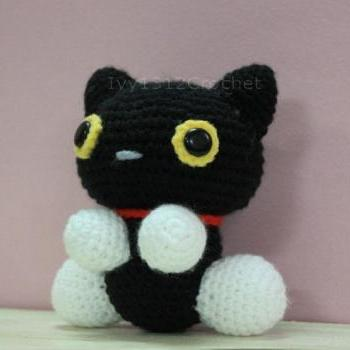 Black Cat - Finished Handmade Amigurumi crochet doll Home decor birthday gift Baby shower toy