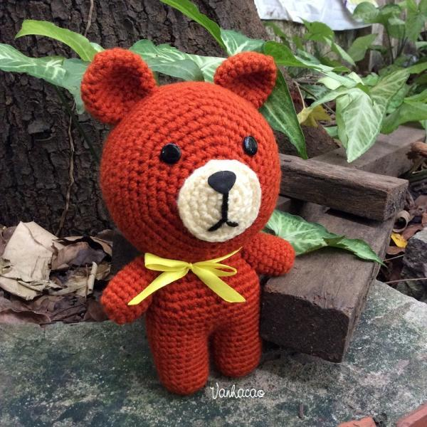 Brown Bear - Handmade Amigurumi crochet Teddy bear Home decor birthday gift Baby shower toy